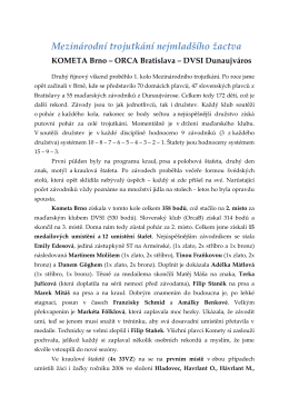hodnocení - Kometa Brno plavání