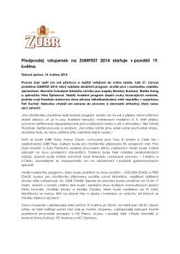 Předprodej vstupenek na ZUBRFEST 2014 startuje v pondělí 19