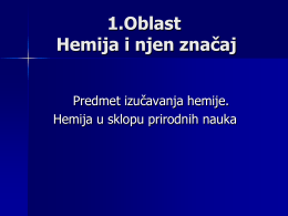 Oblast: Hemija i njen značaj