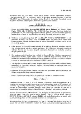 Predlog odluke o prinudnom otkupu akcija