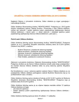 Finansijski izvještaj o poslovanju za 2012. godinu