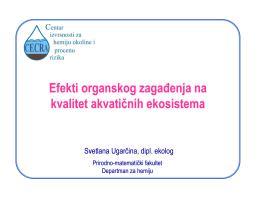 Efekti organskog zagađenja na kvalitet akvatičnih ekosistema