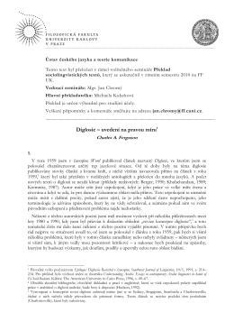 Charles Ferguson: Diglosie - uvedení na pravou míru (pdf)