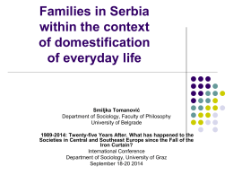 Families in Serbia within the context of domestification of everyday life