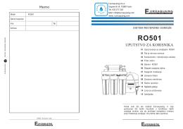 Detaljno uputstvo za korisnike RO501 Aparata