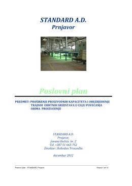 Poslovni plan - Standard - Fabrika namještaja Prnjavor