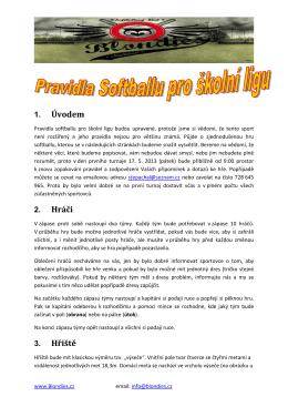 Pravidla hry Softball - školní liga Blondies