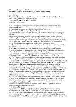 Zápis ze schůze výboru ČSAC Hotel NH Collection Olomouc Hotels