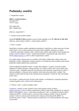Podmínky soutěže - IRISA, výrobní družstvo