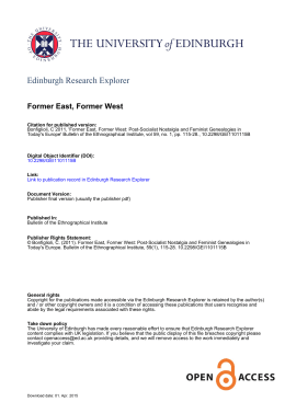 Former East, Former West - Edinburgh Research Explorer