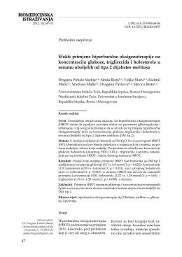 BIOMEDICINSKA ISTRAŽIVANJA Efekti primjene hiperbarične
