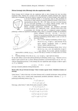 Sferno kretanje tela (Obrtanje tela oko nepokretne tačke)