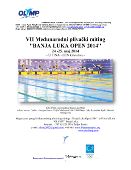 VII Međunarodni plivački miting ``BANJA LUKA OPEN 2014``