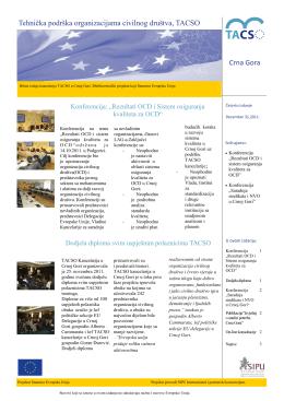Tehnička podrška organizacijama civilnog društva, TACSO Crna Gora