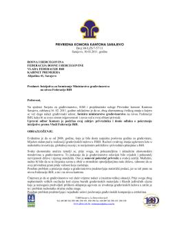 Inicijativa za formiranje Ministarstva građevinarstva na nivou