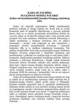 KAKO JE ZAVRŠIO SULEJMAN-HODŽA PAČARIZ