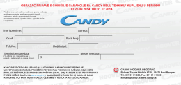Candy - 40 meseci garancije formular - April-Jun
