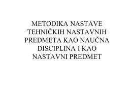 metodika nastave tehničkih nastavnih predmeta kao naučna