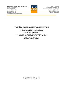 izveštaj nezavisnog revizora o finansisjkikm izveštajima za 2013