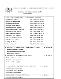 Raspored rada dispanzera za 2015.godinu