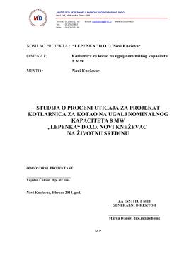 studija o proceni uticaja za projekat kotlarnica za kotao na