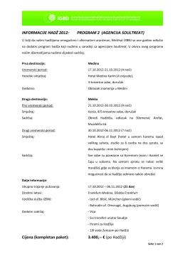 Detaljnije o programu hadždža agencije Soultreat