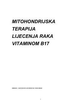 MITOHONDRIJSKA TERAPIJA LIJECENJA RAKA VITAMINOM B17