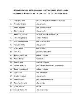 lista kandidata za izbor odbornika skupštine grada