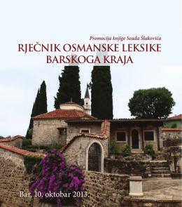 rječnik osmanske leksike barskoga kraja