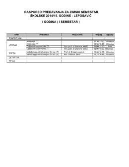Raspored nastave Osnovne akademske studije 2014/2015