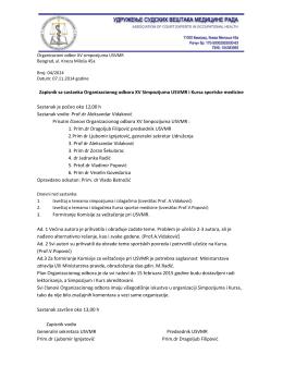 Zapisnik sa sastanka Organizacionog odbora XV Simpozijuma
