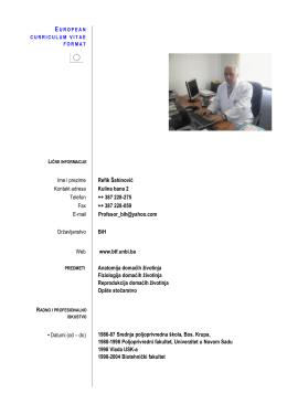 Ime i prezime Refik Šahinović Kontakt adresa Kulina bana 2 Telefon