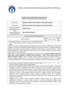 Posudek oponenta/oponentky absolventské práce CARITAS – Vyšší
