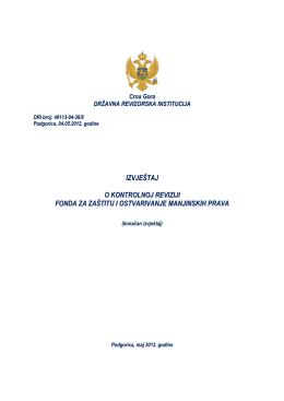 Izvještaj o kontrolnoj reviziji Fonda za zaštitu i ostvarivanje