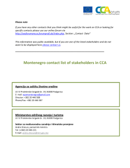 Montenegro contact list of stakeholders in CCA