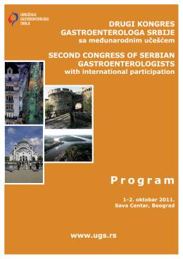Preliminarni program za kongres - Udruženje Gastroenterologa Srbije