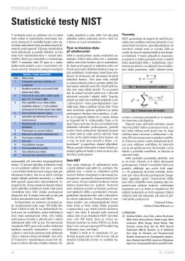 Statistické testy NIST - Personal page: Vlastimil Klima