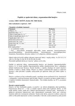Certifikát hnojiva z popílku