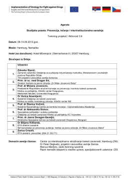 Agenda Studijska poseta: Prevencija, lečenje i interinstitucionalna