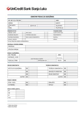Osnovni podatci i izjava sudužnika