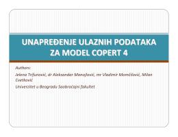unapređenje kvaliteta ulaznih podataka za model copert 4