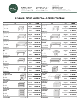 CENOVNIK BIZNIS NAMESTAJA - DOMACI PROGRAM