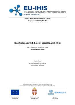 Klasifikacija retkih bolesti korišćena u EHR-u - EU-IHIS