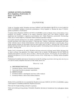 ZAPISNIK - Vanredna sednica Skupstine akcionara
