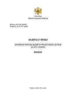 Izvještaj o reviziji Završnog računa budžeta Prijestonice Cetinje za