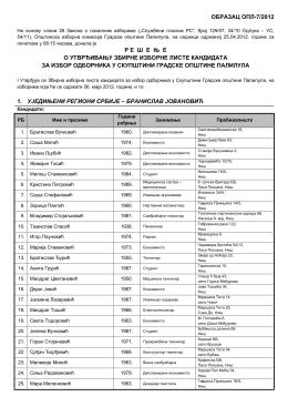 решење о утврђивању збирне изборне листе