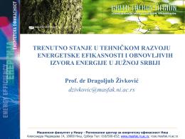 Trenutno stanje u EE i OIE - Prof Dr Dragoljub Zivković