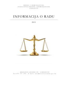 Izvještaj o radu Tužilaštva BiH za 2011.godinu