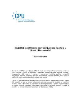 Izvještaj o politikama razvoja ljudskog kapitala u Bosni i Hercegovini