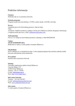 Praktične informacije - Serbia World Music Festival
